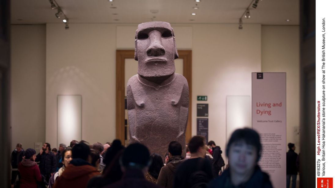 Hoa Hakananai'a stone sculpture on show at The British Museum, London. Easter Island officials want it back