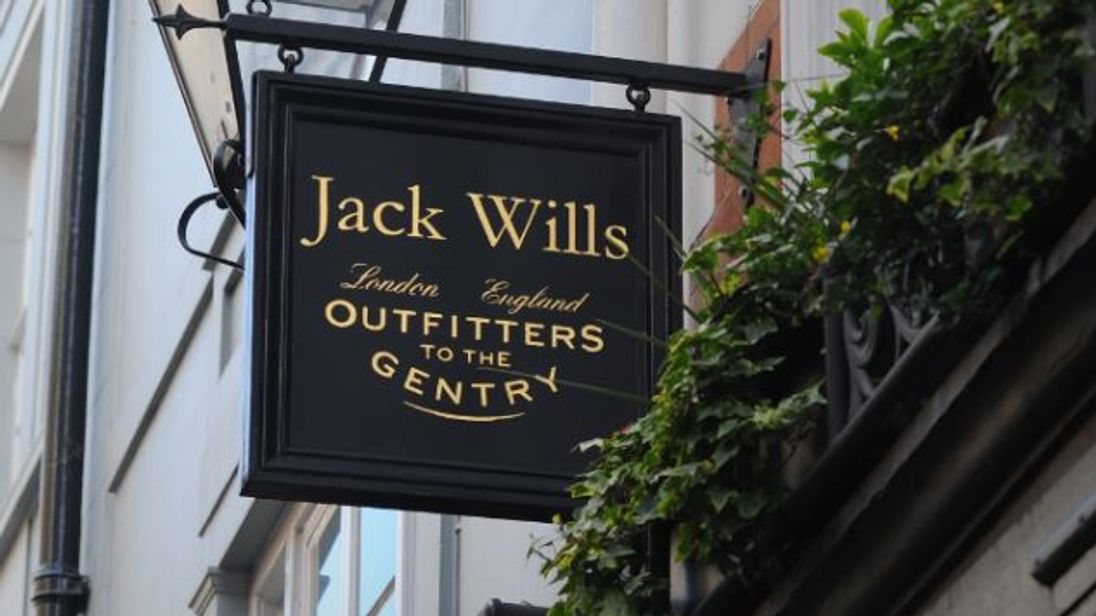 Jack Wills outfitters sign outside shop