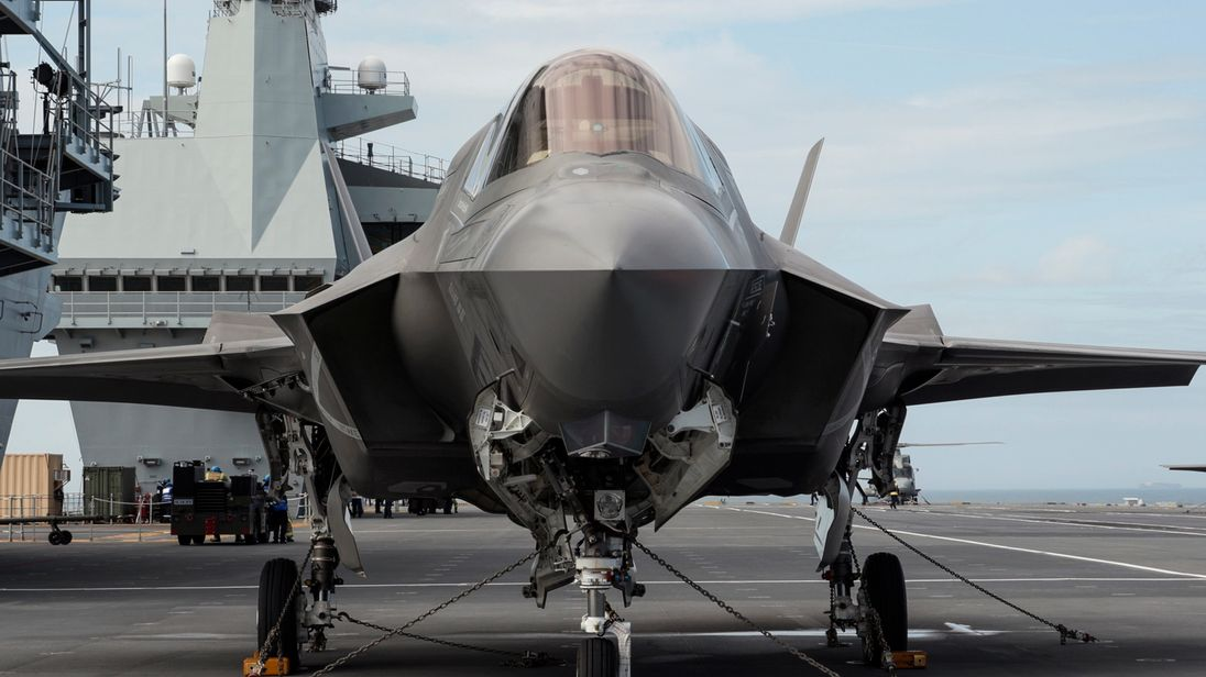 An F-35B fighter jet on board HMS Queen Elizabeth