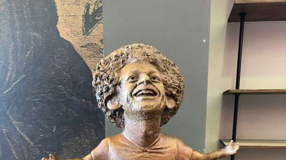 The statue features Mo Salah with his arms outstretched
