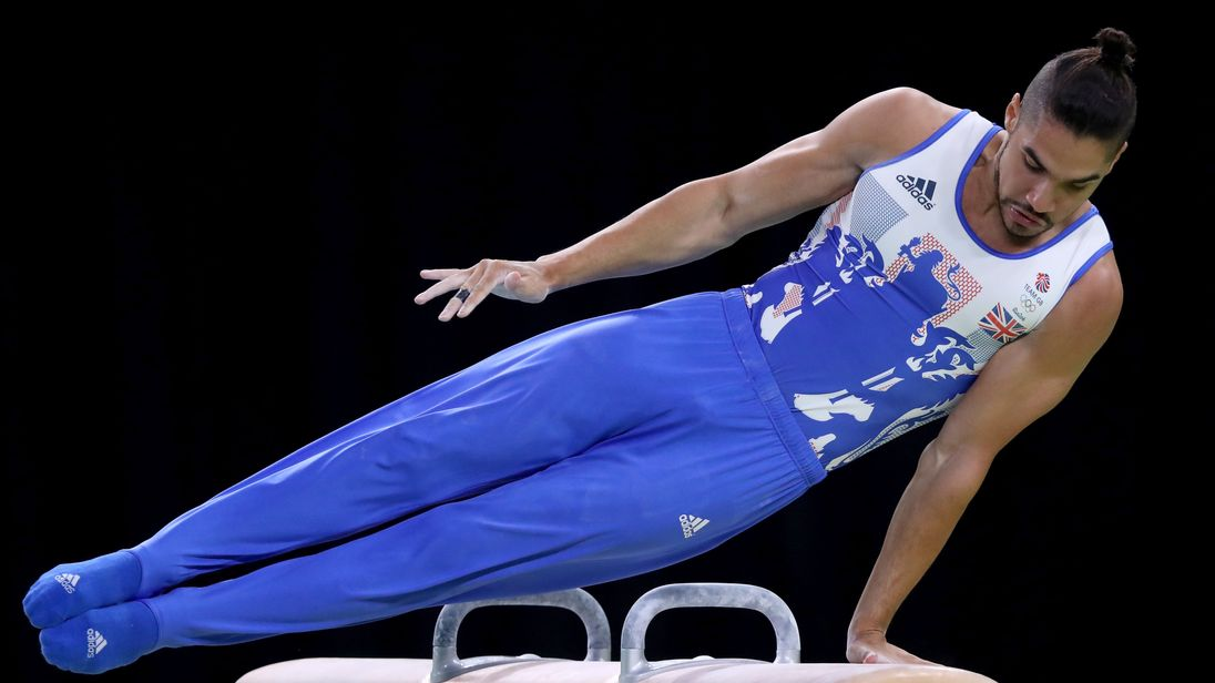 Louis Smith on the pommel horse at the Rio Olympics in 2016