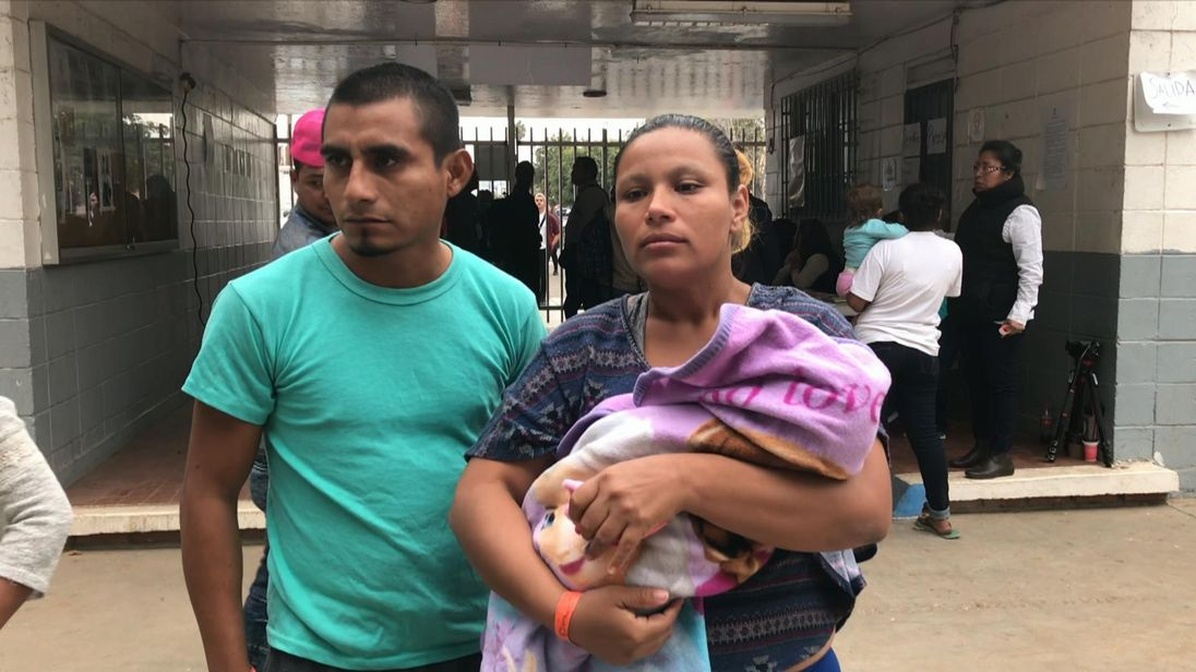 Juan and Orlinda's daughter Juana was born on the migrant caravan after they fled from gangs in El Salvador