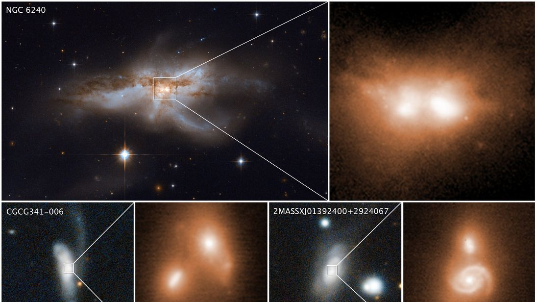 Supermassive black hole pairs imaged in merging galactic cores