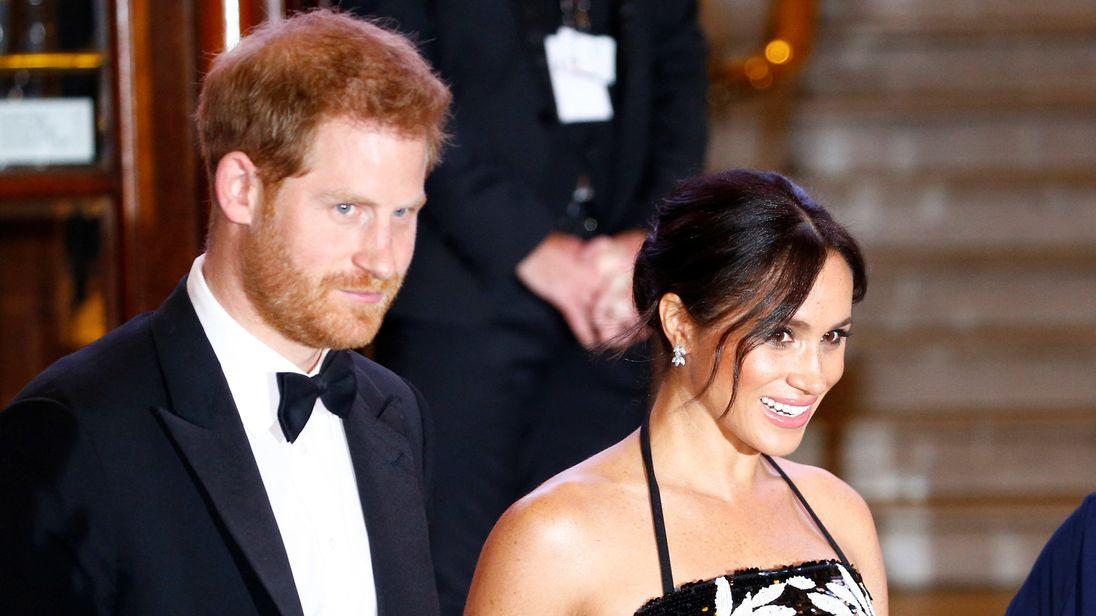 Prince Harry and Meghan, the Duchess of Sussex, leave after the Royal Variety Performance in London