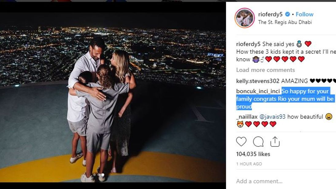 Rio Ferdinand and Kate Wright have confirmed their engagement on Instagram. Pic: Rio Ferdinand/Instagram