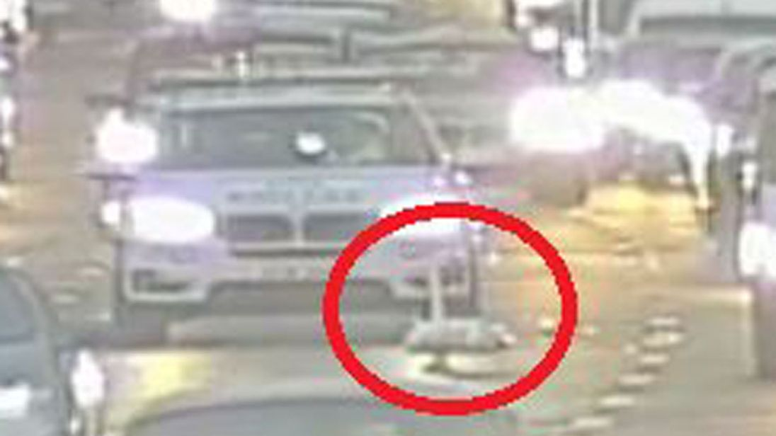 Police had to park a car behind the swan (circled) which would not move from the M8. Pic: Traffic Scotland