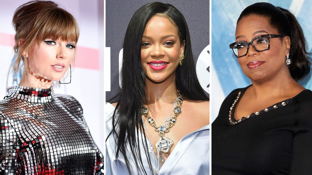 Taylor Swift, Rihanna and Oprah Winfrey