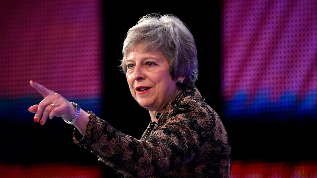 Theresa May replies to questions after speaking at the Confederation of British Industry's (CBI) annual conference in London
