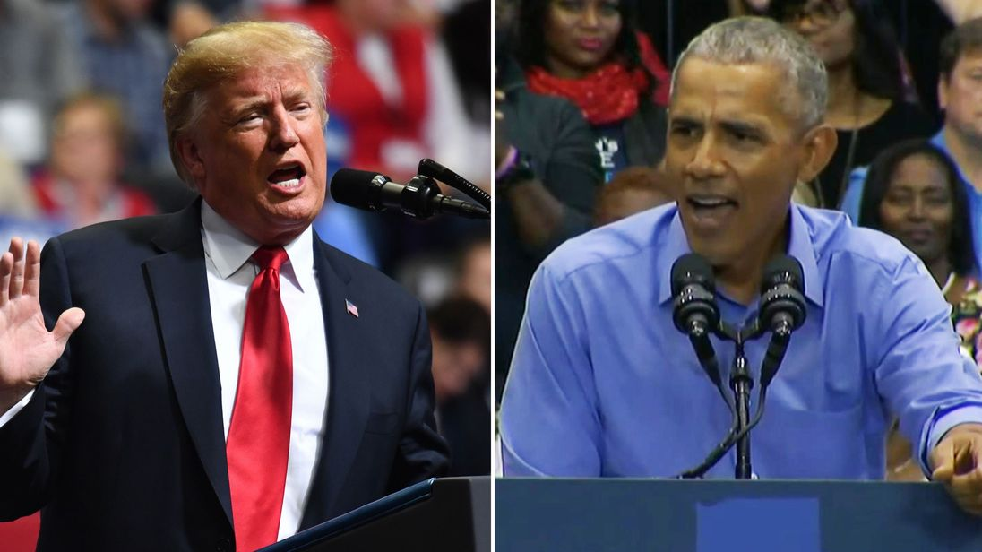Mr Trump accused the ex-leader of breaking promises and Mr Obama said the president was 'fear-mongering'
