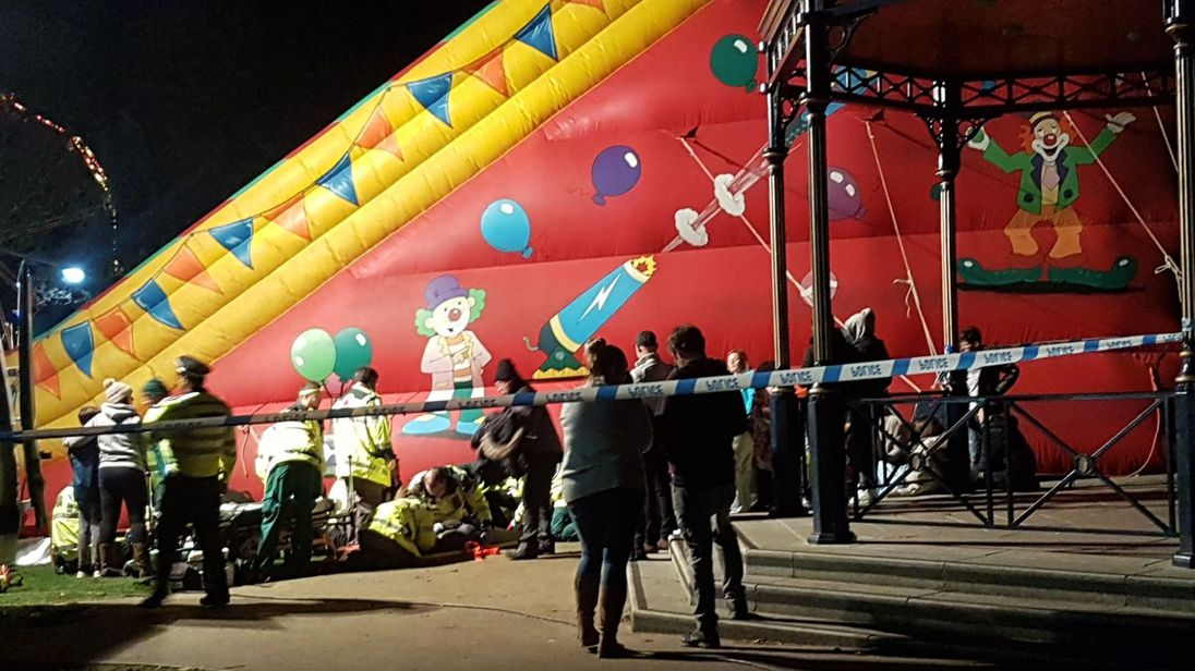 Investigation underway after children hospitalised when inflatable slide at fireworks display collapsed