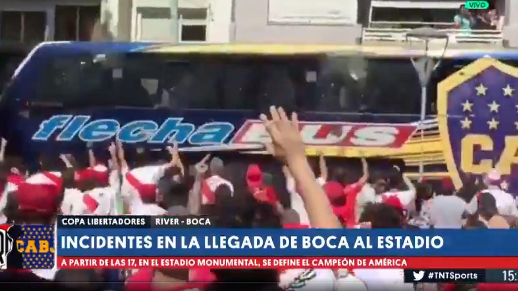 Copa Libertadores final off after River Plate fans attack Boca Juniors team  bus 7ff1b50f572