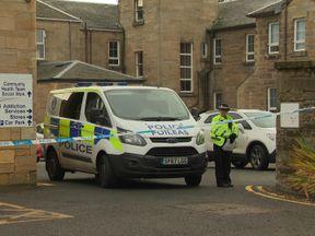 Police at the scene in Ayr