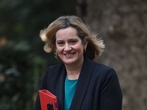 Work and Pensions Secretary Amber Rudd arrives in Downing Street in London for a meeting of the Cabinet.