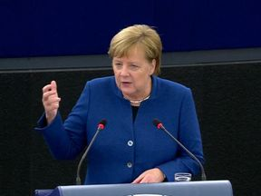 Angela Merkel calls for a European army in a speech in Strasbourg