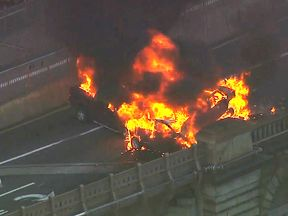 The scene of the crash on Brooklyn Bridge. Pic: abc7NY