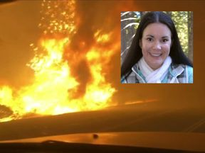 Nichole Jolley's car was engulfed in flames as the fires spreads