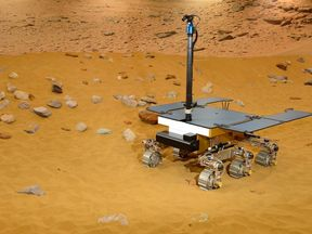 The ExoMars rover being tested at a Mars-like environment in Stevenage. Pic: Airbus