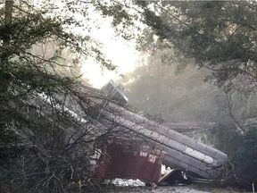 More than two-dozen carriages are thought to have fallen on to the road. Pic: Montezuma Police Department