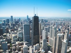 The lift plunged from the 95th floor in Chicago's fourth tallest building (centre)