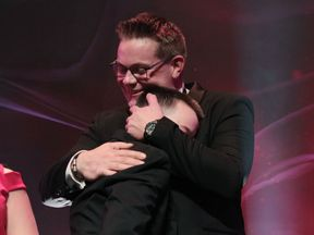 Jack and Michael embrace at the gala
