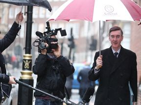 Jacob Rees-Mogg arrives to chair a pro Brexit event in central London