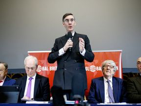 Jacob Rees-Mogg speaks at a meeting of the pro-Brexit European Research Group in London
