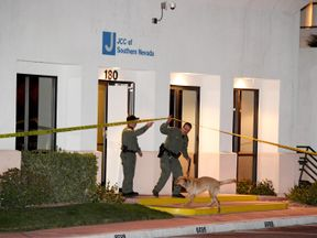 LAS VEGAS, NV - FEBRUARY 27: Las Vegas Metropolitan Police Department K-9 officers search the Jewish Community Center of Southern Nevada after an employee received a suspicious phone call that led about 10 people to evacuate the building on February 27, 2017 in Las Vegas, Nevada. Metro Police spokesman Danny Cordero said the nature of the call led officers to believe there might be a suspicious device inside but none was found. Cordero said police are stepping up patrols around Jewish institutio