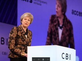 The prime minister gave a speech before answering questions from delegates at the CBI's annual conference