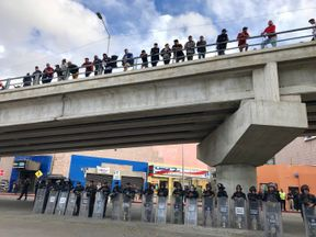 The migrant caravan hoping to gain access to the United States. Ramsay pic