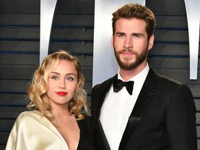 Miley Cyrus and Liam Hemsworth at the 2018 Vanity Fair Oscar Party
