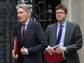 Philip Hammond (l) and Greg Clark have been explaining the withdrawal agreement to business leaders