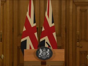 The podium has been set for Theresa May's news conference