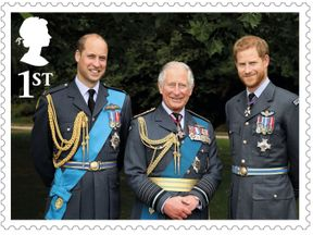 Prince Charles and his sons Princes William and Harry feature in a triple portrait in a set of Royal stamps