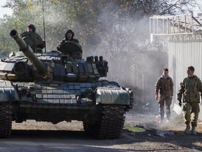 The Ukrainian president says Russian tanks are massing on the edge of his country. File pic