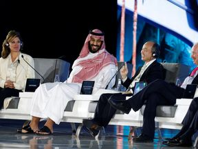 Saudi Crown Prince Mohammed bin Salman and Masayoshi Son, SoftBank Group Corp. Chairman and CEO, attend the Future Investment Initiative conference in Riyadh