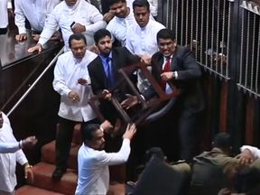 Fight in Sri Lankan parliament