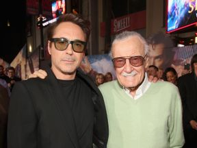 Stan Lee and Robert Downey Junior at the world premiere of Doctor Strange in 2016