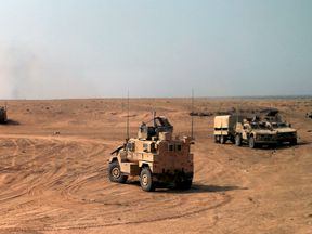The coalition targeted the IS stronghold near the Iraq border. File pic