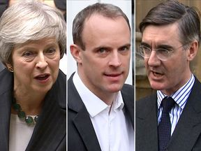 Theresa May, Dominica Raab, Jacob Rees-Mogg