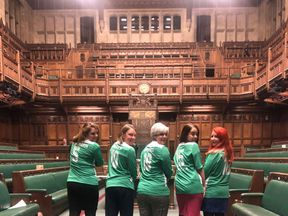 Five MPs - Tracy Crouch, Lou Hastings, Hanna Bardell, Stephanie Peacock and Alison McGovern - celebrate setting up a women's lobby football team. Pic: @HannahB4LiviMP