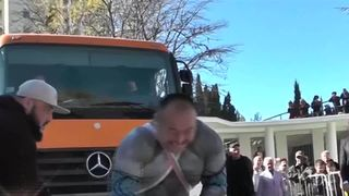 """""""The Strongest Man on The Planet"""", as Russian strongman Elbrus Nigmatullin has come to be known, performed a feat of inhuman strength on Friday (November 2) by pulling a 26 tonne truck for 41 seconds. The accomplishment was called an undoubted Russia-wide record, and maybe even a world record, but no officials were present at the event to verify that claim."""