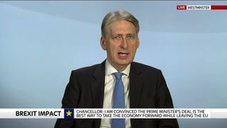 Chancellor Philip Hammond discusses the cost of Brexit on the UK economy.