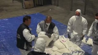Italian police discovered some 270kg (595 lb) of heroin hidden in a container that arrived aboard a ship from Iran, the biggest such haul in at least 20 years in Italy.