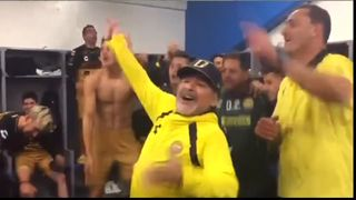 Head coach Diego Maradona and his Sinaloa Dorados squad celebrated after they advanced to the final of the Mexican second division