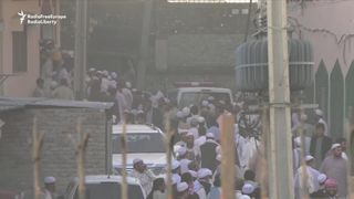 "Thousands attended the funeral of Maulana Sami ul-Haq, a Pakistani cleric known as the ""Father of the Taliban,"" in Noshera, Pakistan, on November 3, after he was killed in a knife attack the previous day."
