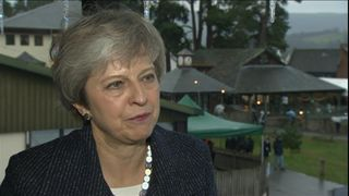 Prime Minister Theresa May who is visiting Wales says that 'we are talking to other countries' regarding future trade deals.  Pic: BBC POOL