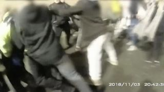 A fight between youths broke out and enveloped police