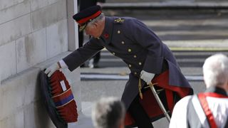 Prince Charles lays the Sovereign's wreath at the Cenotaph