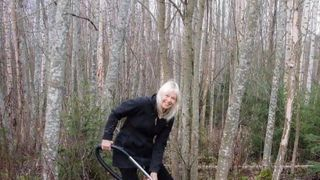 Pyry Luminen hoovering the forest floor in Finland.