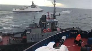 A Russian coast guard ship rammed a Ukrainian tug in the Black Seaas the tug  amid rising tensions in the region.
